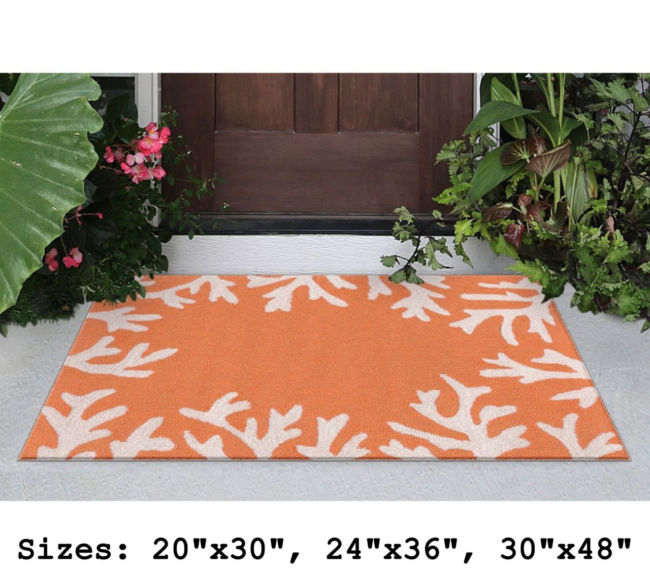 Capri Coral Border Indoor/Outdoor Rug -  Coral - Small Rectangle Lifestyle Available in 11 Sizes