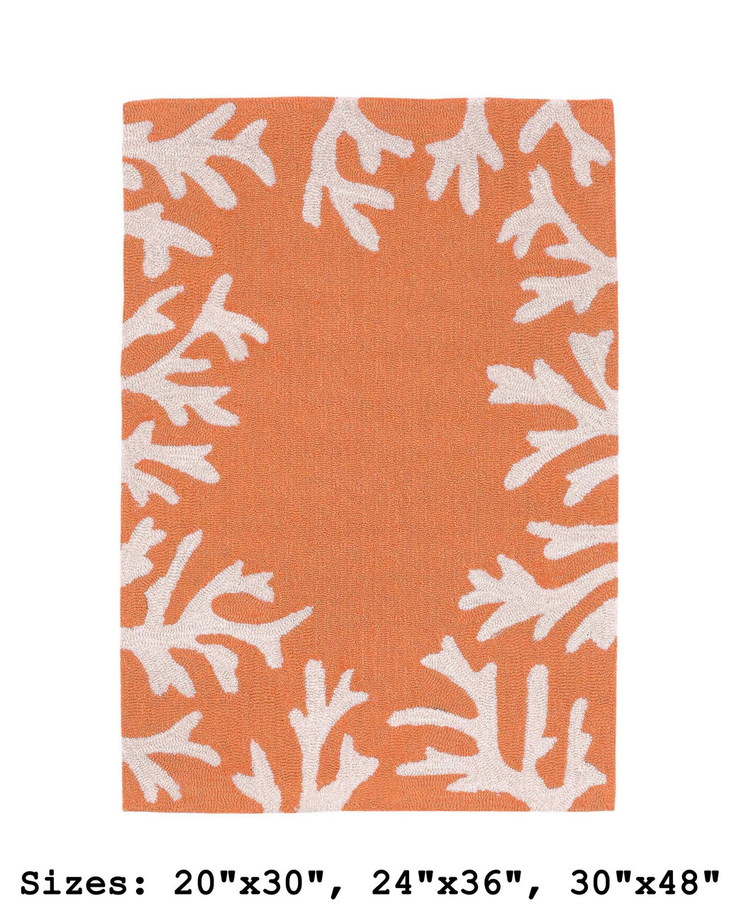 Capri Coral Border Indoor/Outdoor Rug -  Coral - Rectangle 1  Available in 11 Sizes