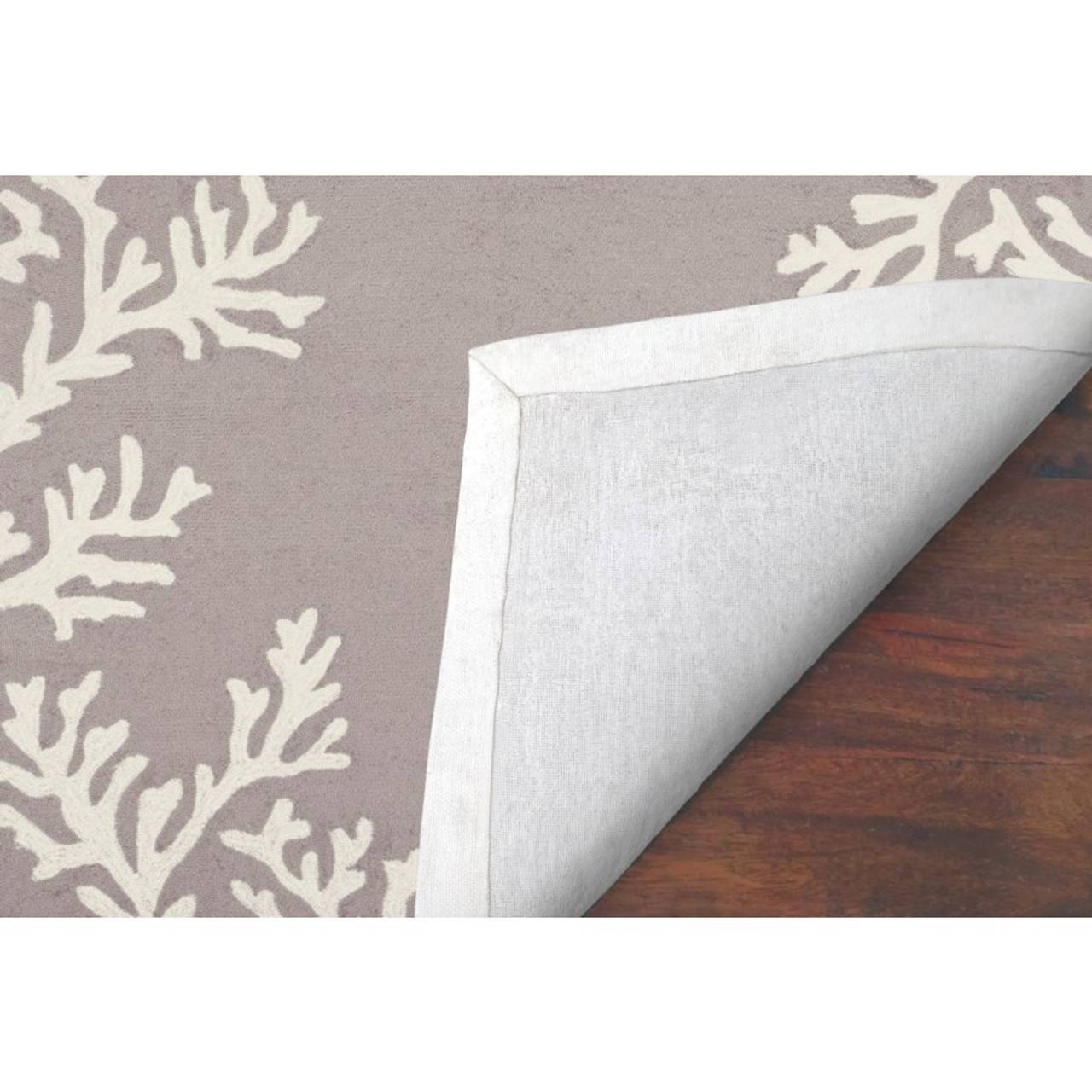 Capri Coral Border Indoor/Outdoor Rug -  Silver - Backing