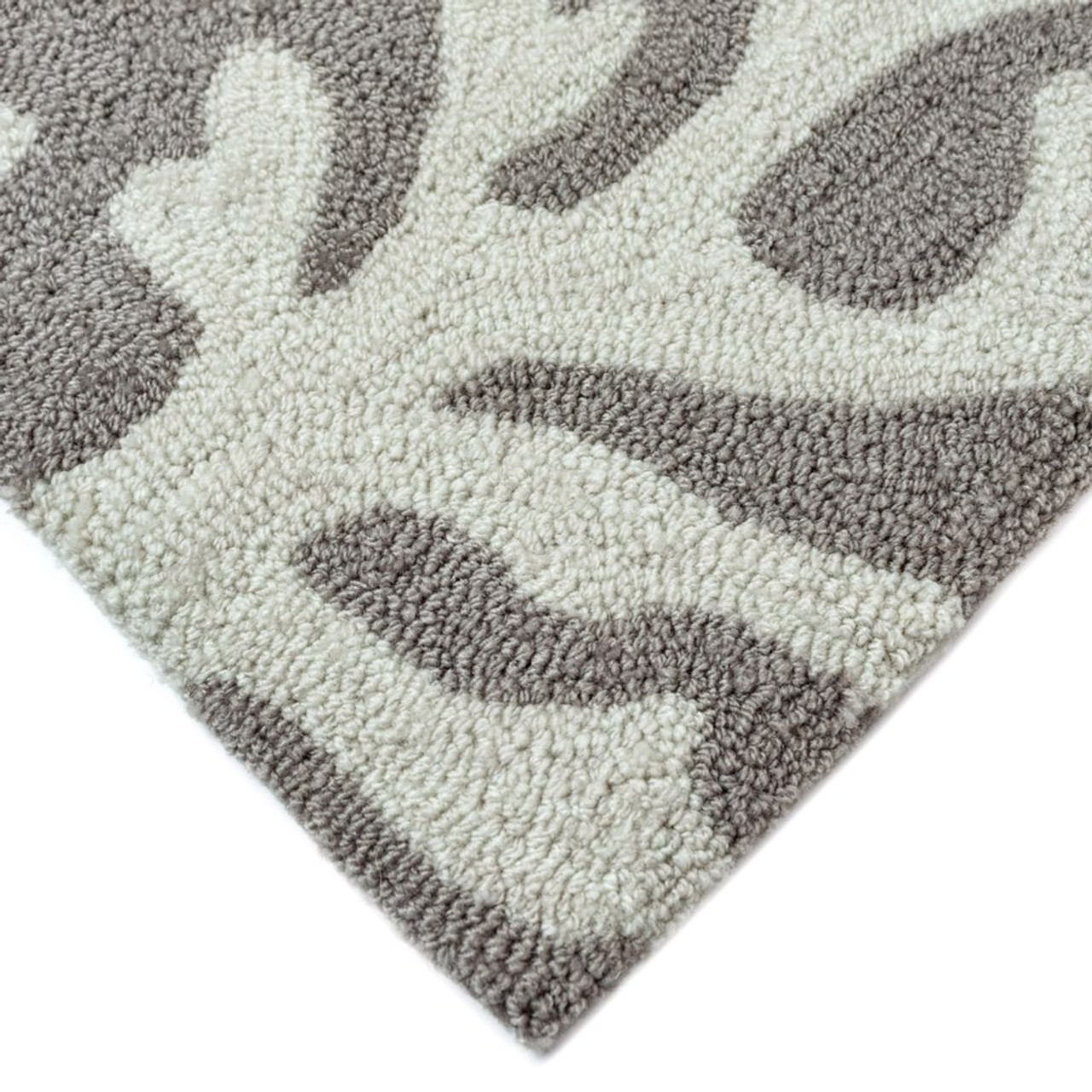 Capri Coral Border Indoor/Outdoor Rug -  Silver - Pile