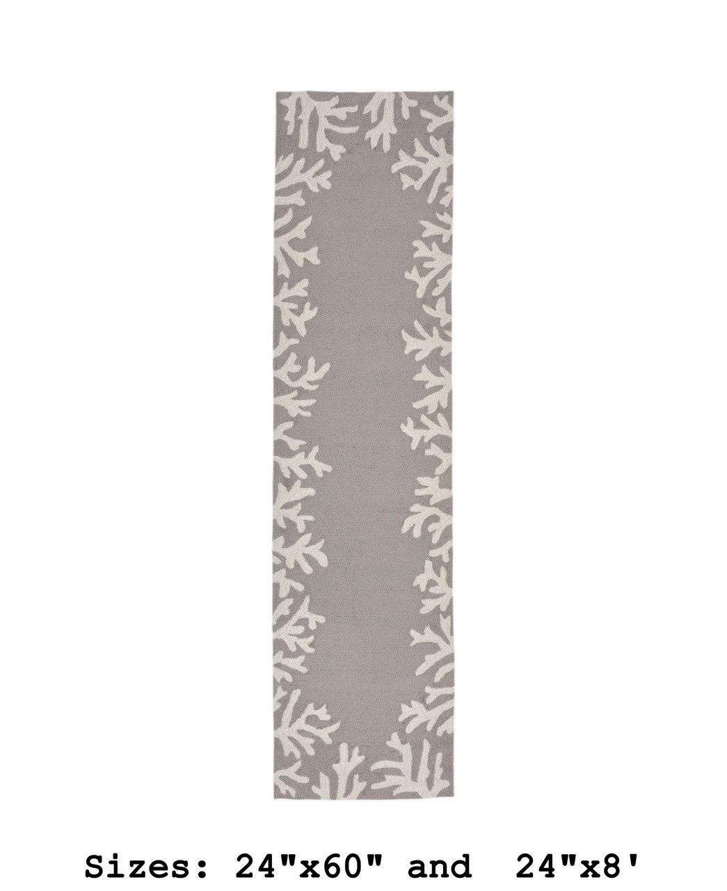 Capri Coral Border Indoor/Outdoor Rug -  Silver - Runner