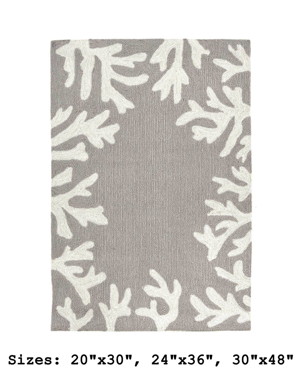 Capri Coral Border Indoor/Outdoor Rug -  Silver - Rectangle 1  Available in 11 Sizes