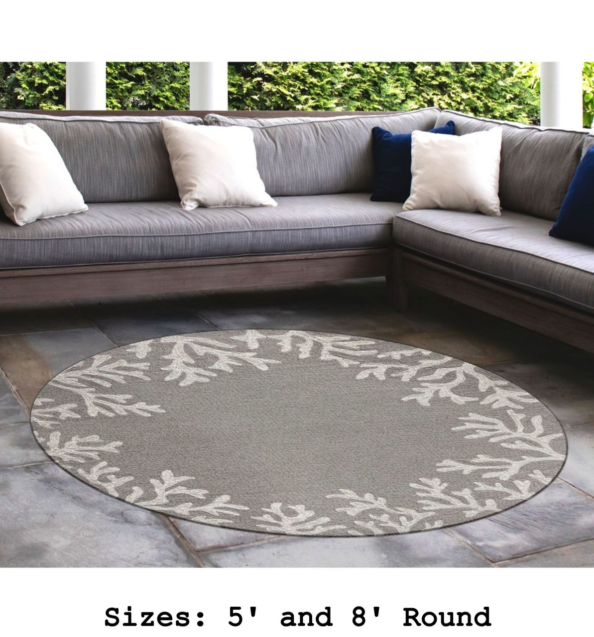 Capri Coral Border Indoor/Outdoor Rug -  Silver - Round Lifestyle