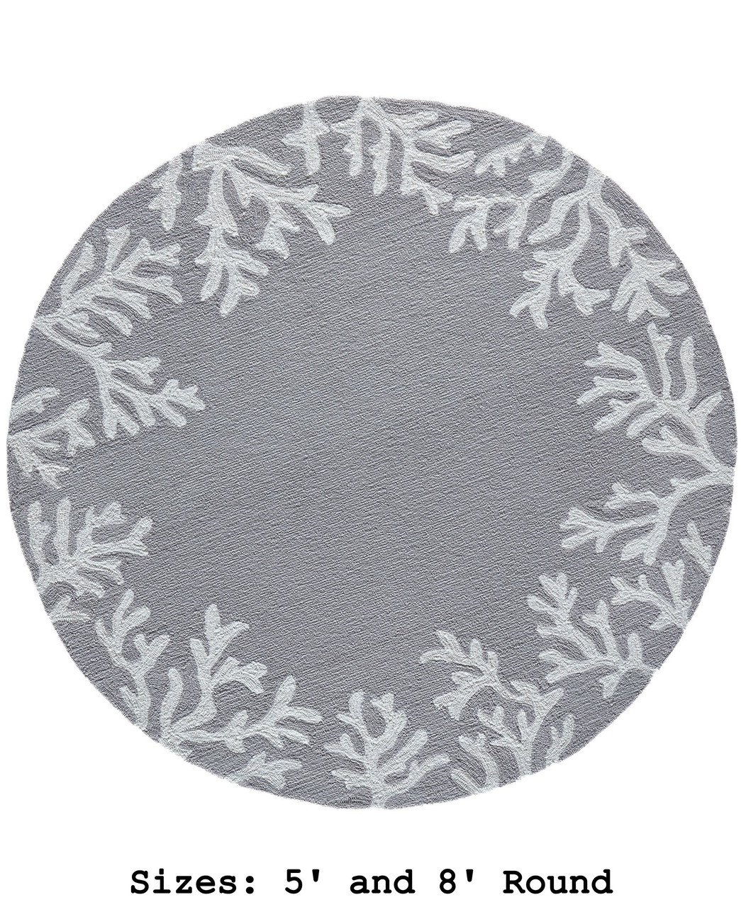 Capri Coral Border Indoor/Outdoor Rug -  Silver - Round