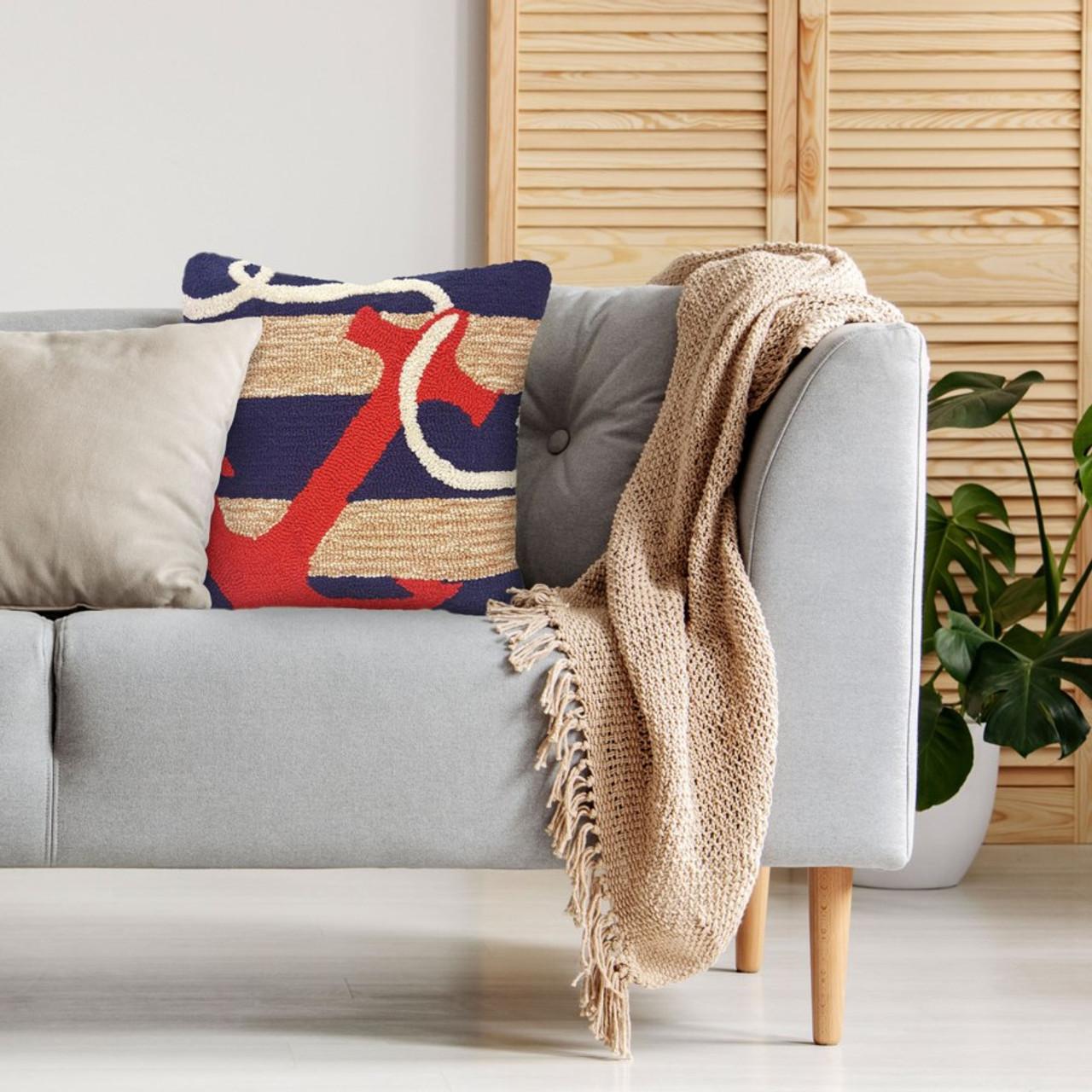 Frontporch Navy Anchor Indoor/Outdoor Throw Pillow - Lifestyle 1