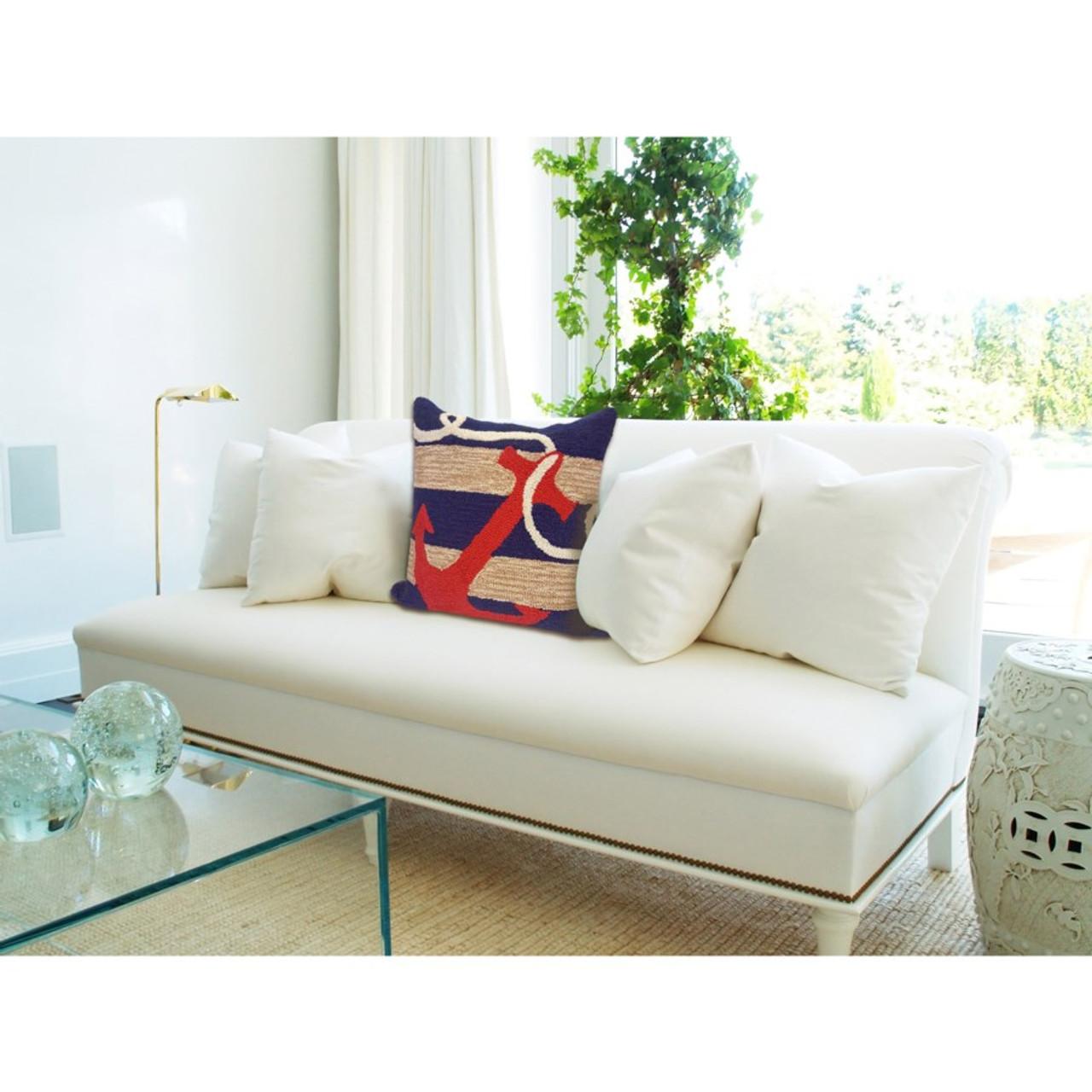 Frontporch Navy Anchor Indoor/Outdoor Throw Pillow - Lifestyle 3