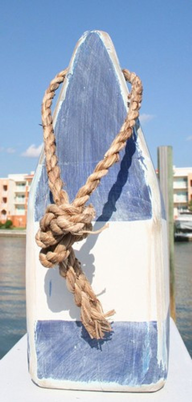 """Wooden Nautical Buoy - 9"""" - Blue with White Band"""