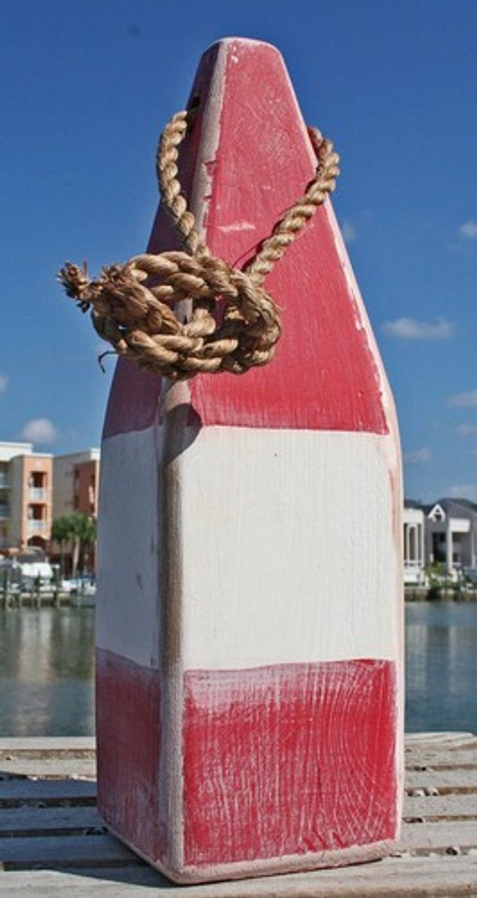 """Wooden Nautical Buoy - 12"""" - Red with White Band"""