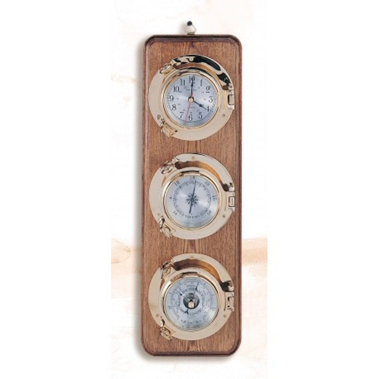 "(262-3)  21"" Premium Porthole Clock, Barometer, and Thermometer on Wooden Base"