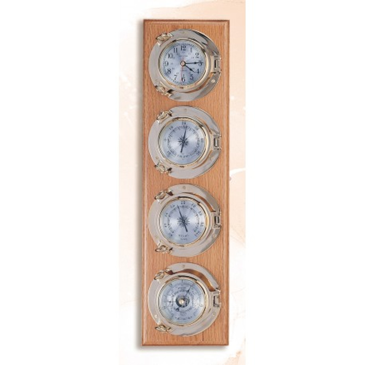 "(262-4)  25"" Deluxe Porthole Clock, Barometer, Thermometer, and Hygrometer on Wooden Base"