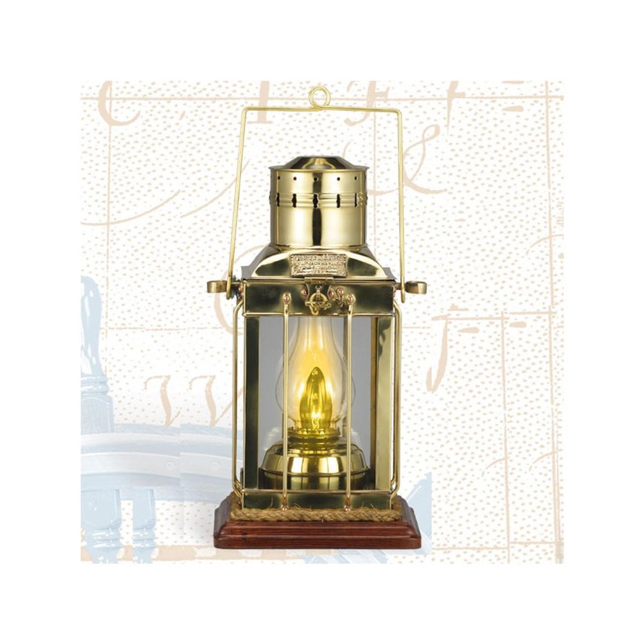 "(BL-836 TW)  16"" Touch Brass Cargo Lantern with Base"