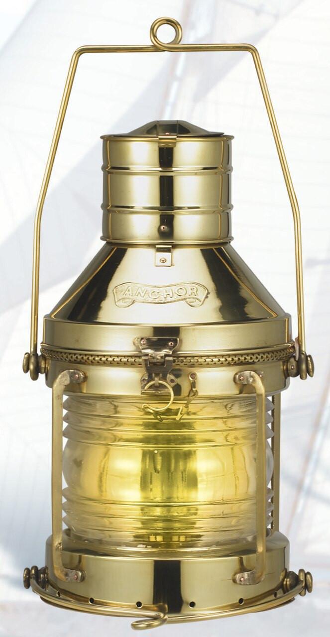 """(BL-817 14"""" Oil)  14"""" Oil Burning Brass Anchor Lantern"""