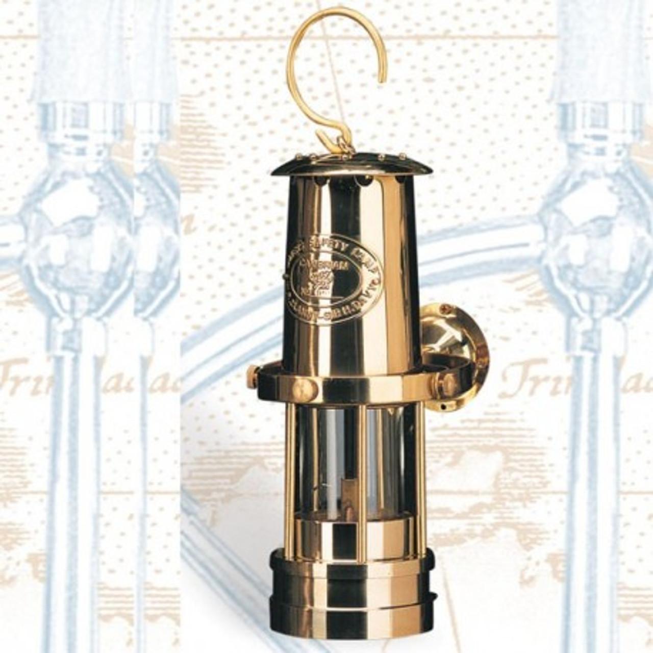 """(BL-855G) 10"""" Gimbaled Miner's Brass Oil Burning Lantern"""