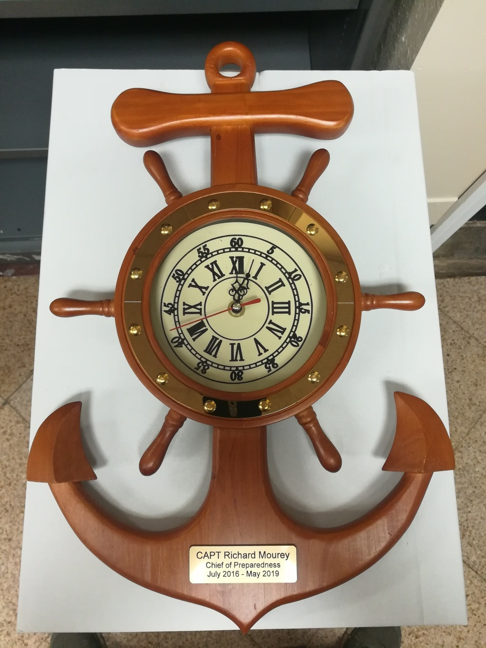 """Premium Clock and Barometer with Wooden Base - Lacquer Coated - 7.5"""""""