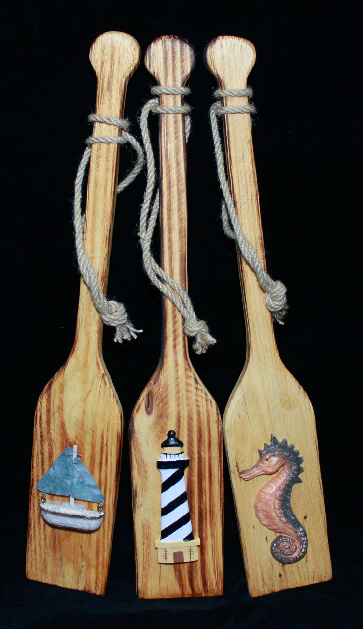 "Decorative Wooden Paddles 17.5"" - Set of 3"