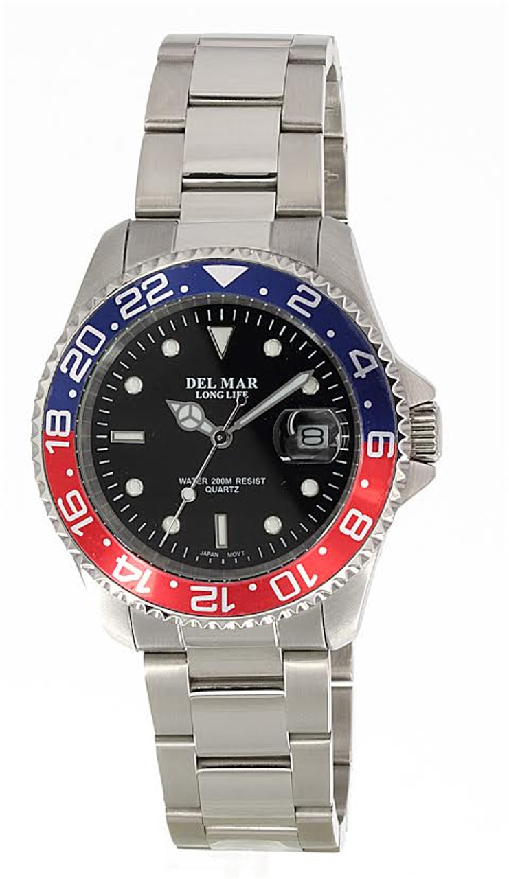 Del Mar Men's 200M Stainless Steel Classic Watch with Blue and Red Bezel