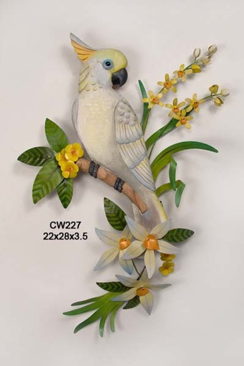 Cockatoo Wood and Metal Wall Sculpture