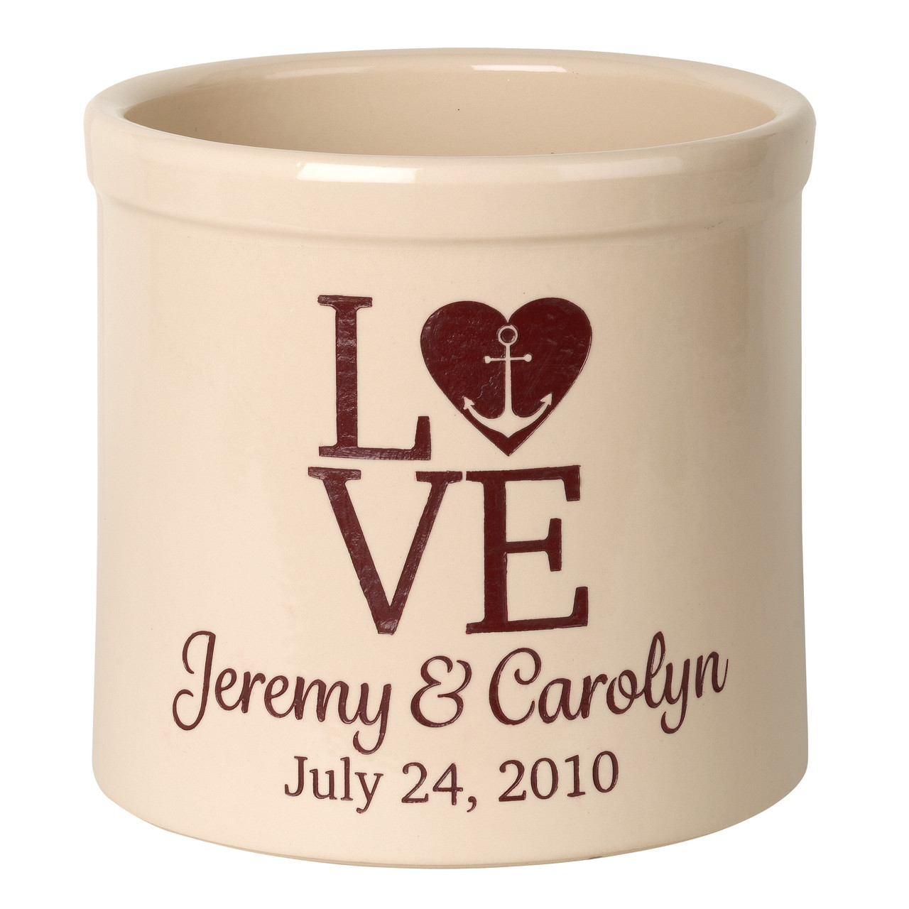 Personalized Heart Flag 2 Gallon Stoneware Crock