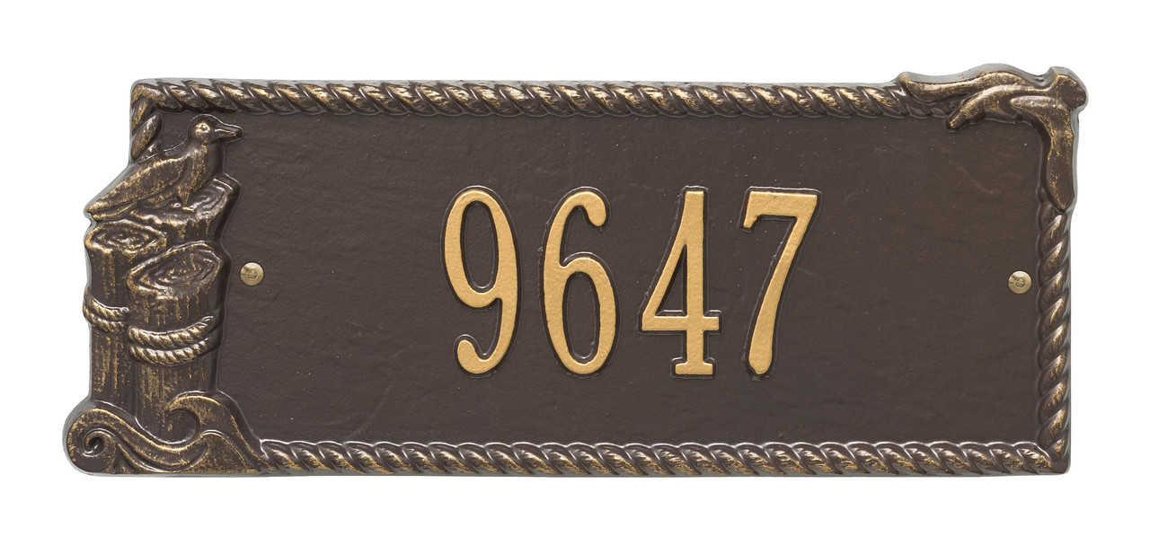 Personalized Seagull Nautical Address Plaque - One Line