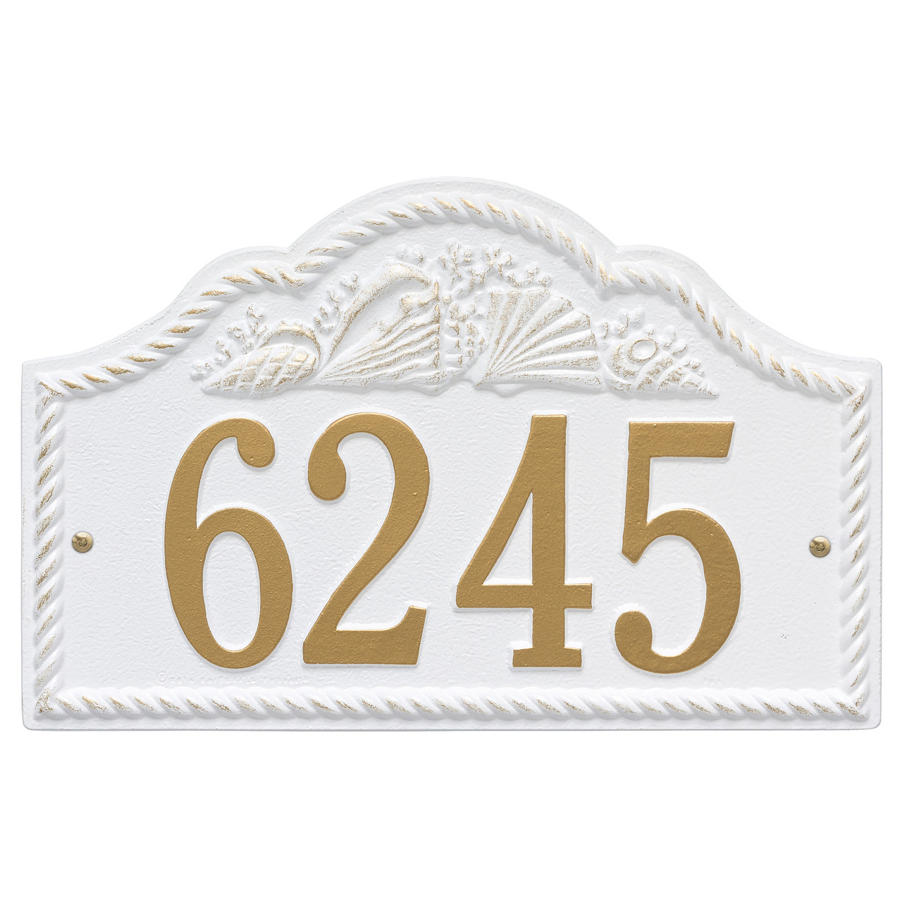 Personalized Rope Shell Arched Nautical Wall Address Plaque - One Line