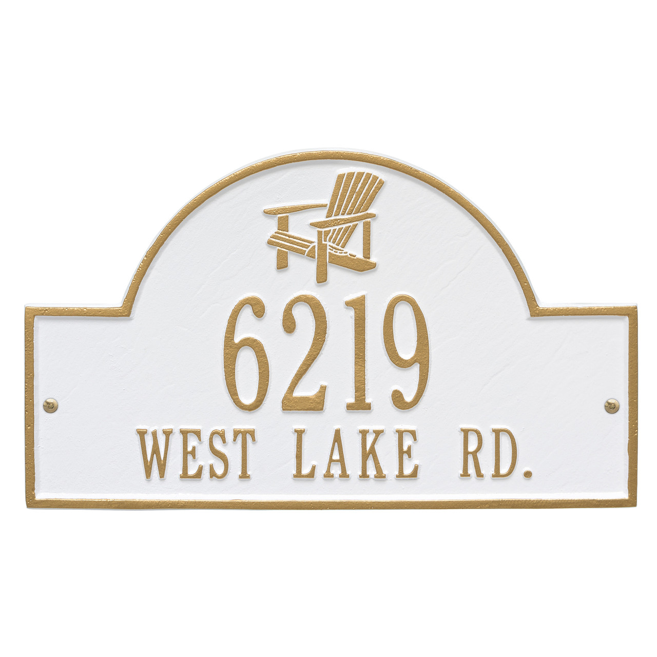 Personalized Adirondack Chair Arched Nautical Address Plaque - Two Lines