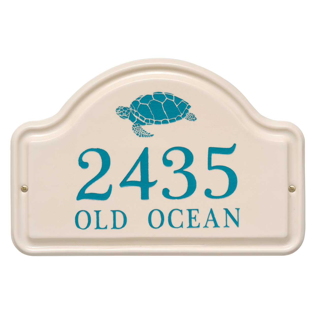 Personalized Arched Ceramic Address Plaque with Turtle - Two Lines
