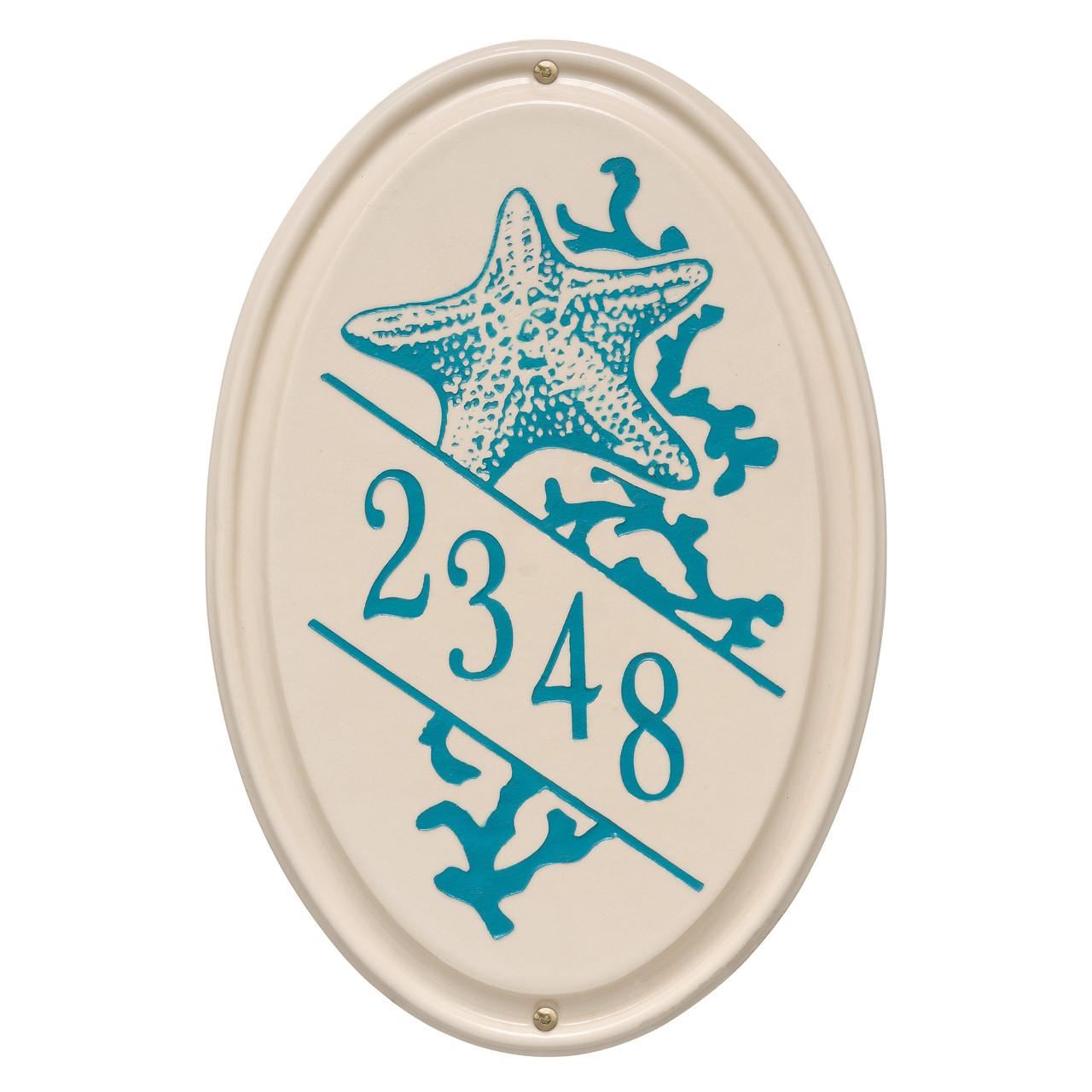 Personalized Oval Ceramic Address Plaque with Star Fish - One Line