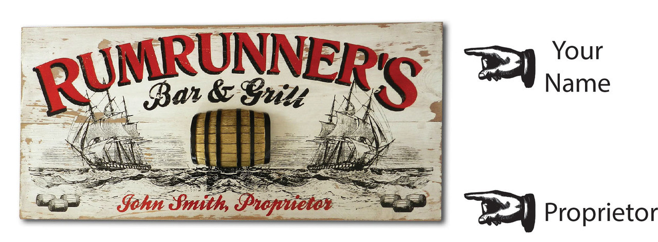 Personalized Rumrunner Vintage Plank Sign