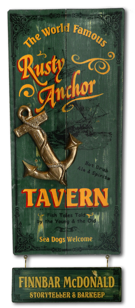 Rusty Anchor Sign with Optional Personalized Nameplate