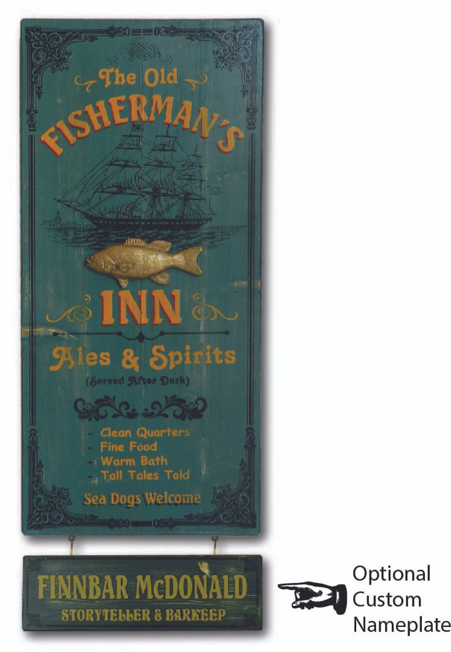 Fisherman's Inn Sign with Optional Personalized Nameplate