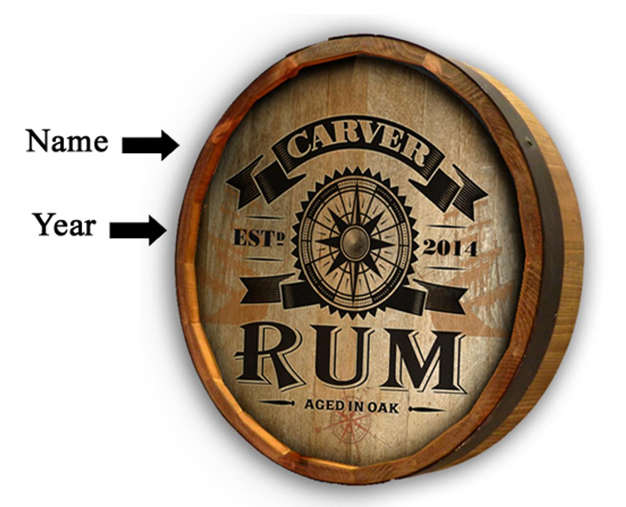 "Personalized Rum Compass Quarter Barrel Sign - 19"""
