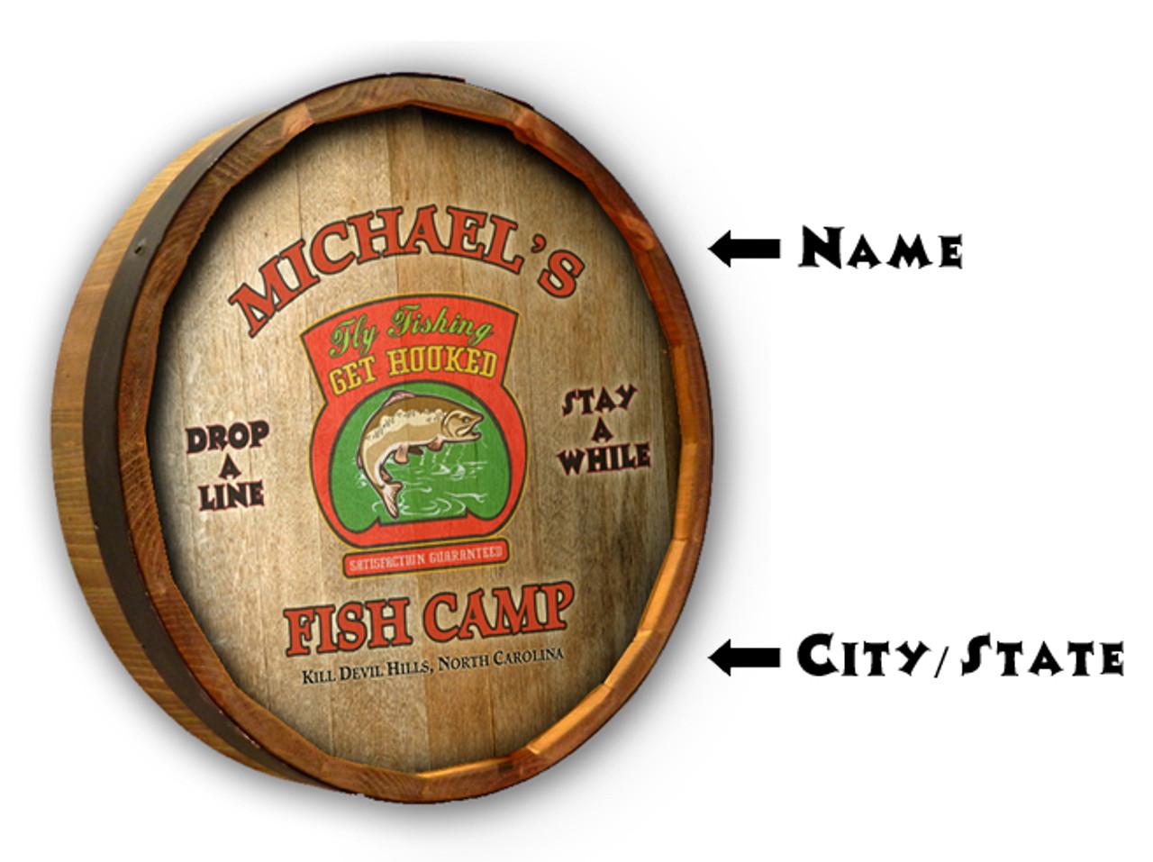 "Personalized Fish Camp Quarter Barrel Sign - 19"""