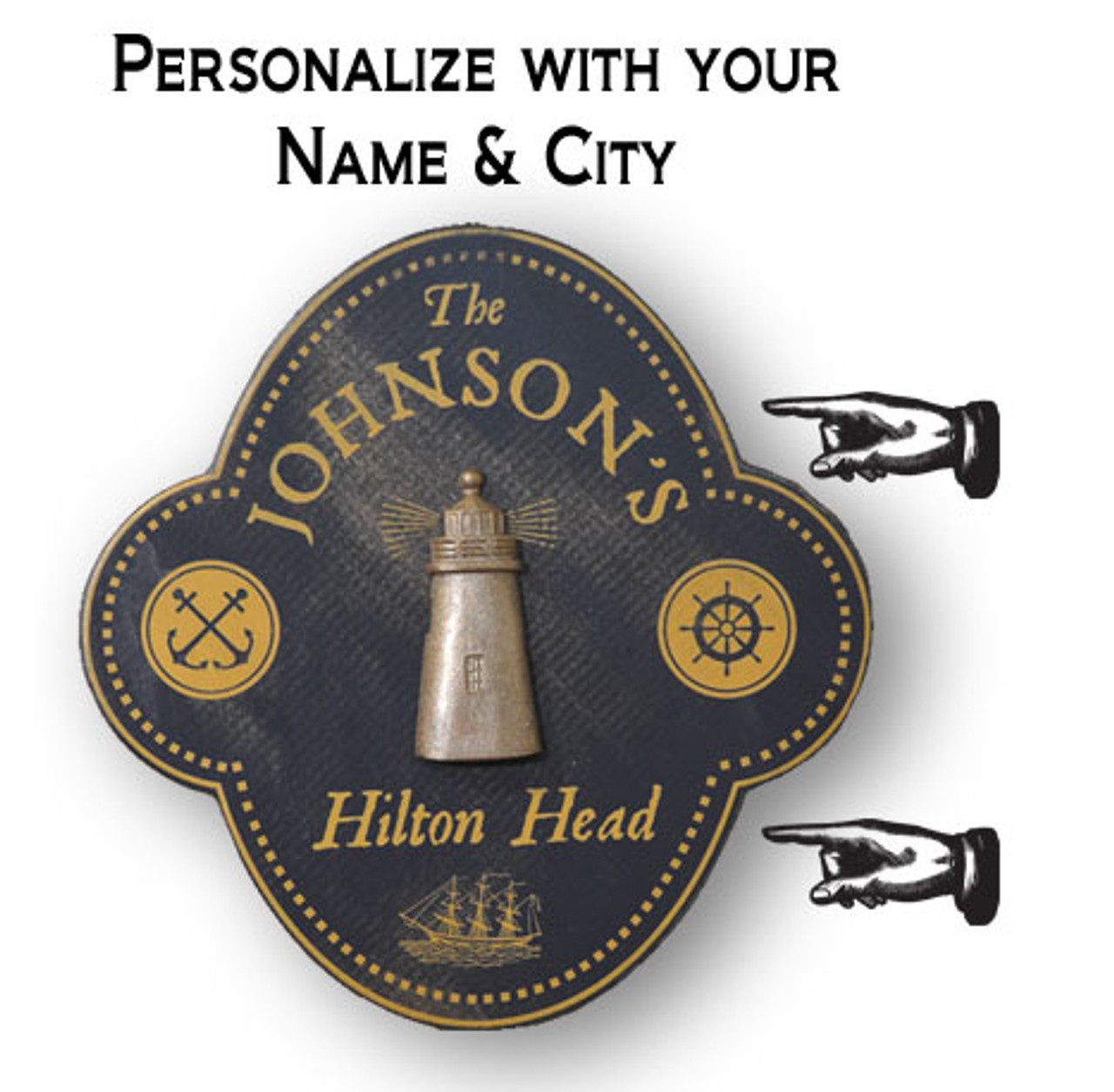 """Personalized Lighthouse Wall Sign - 12"""""""