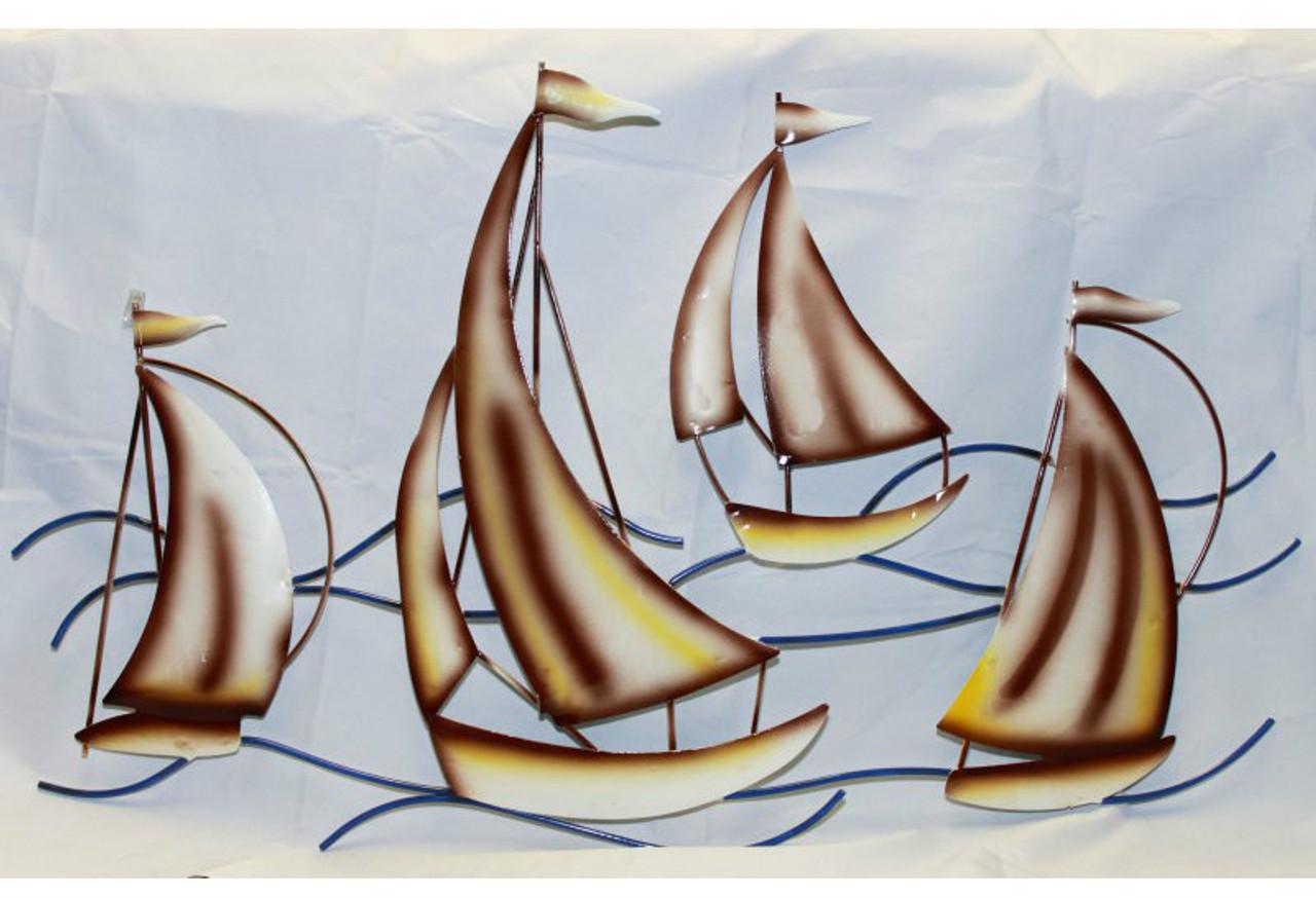 Sailboats on Waves Metal Wall Sculpture