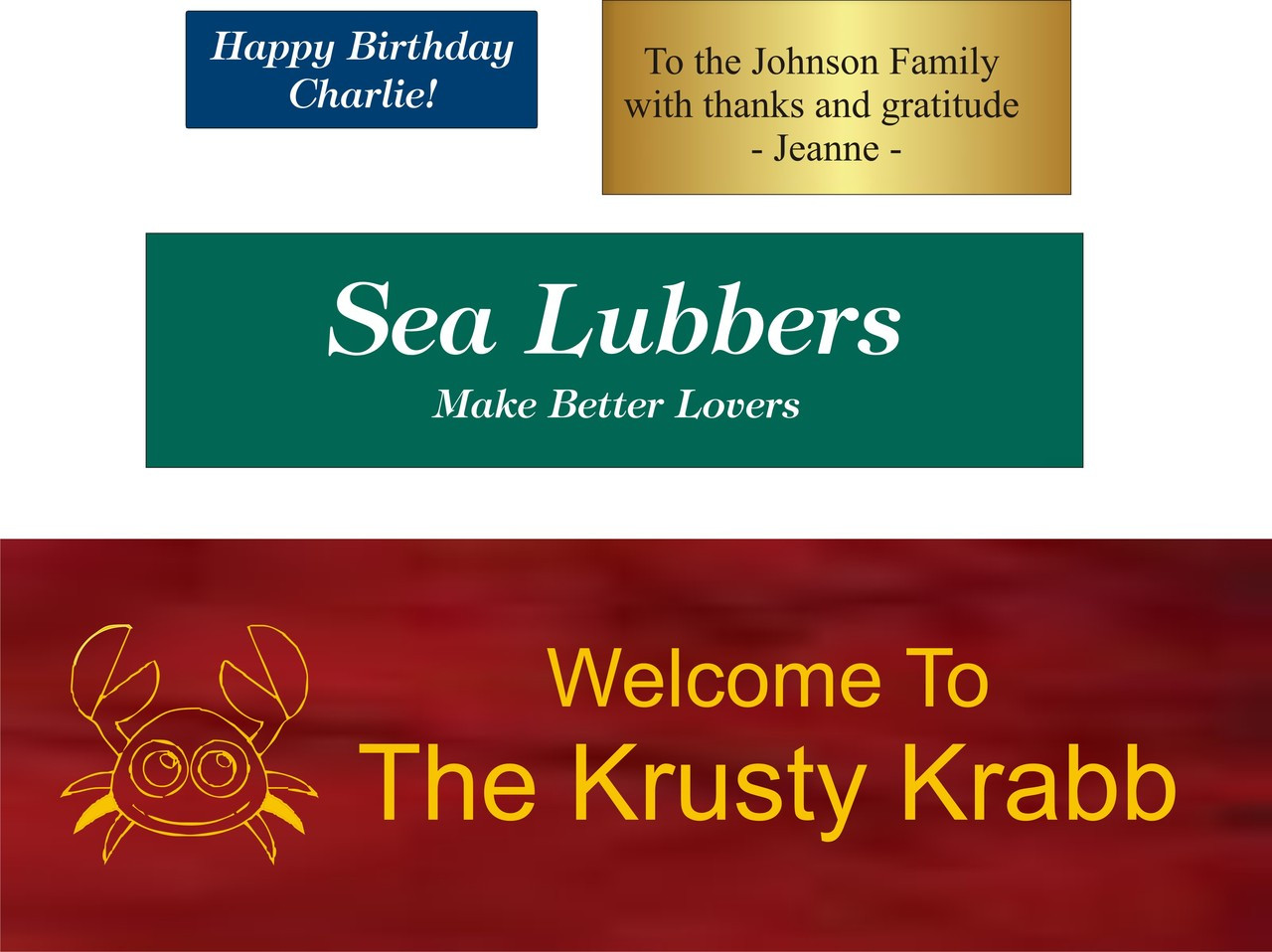 (TK-204B) Personalized Plaque Ideas