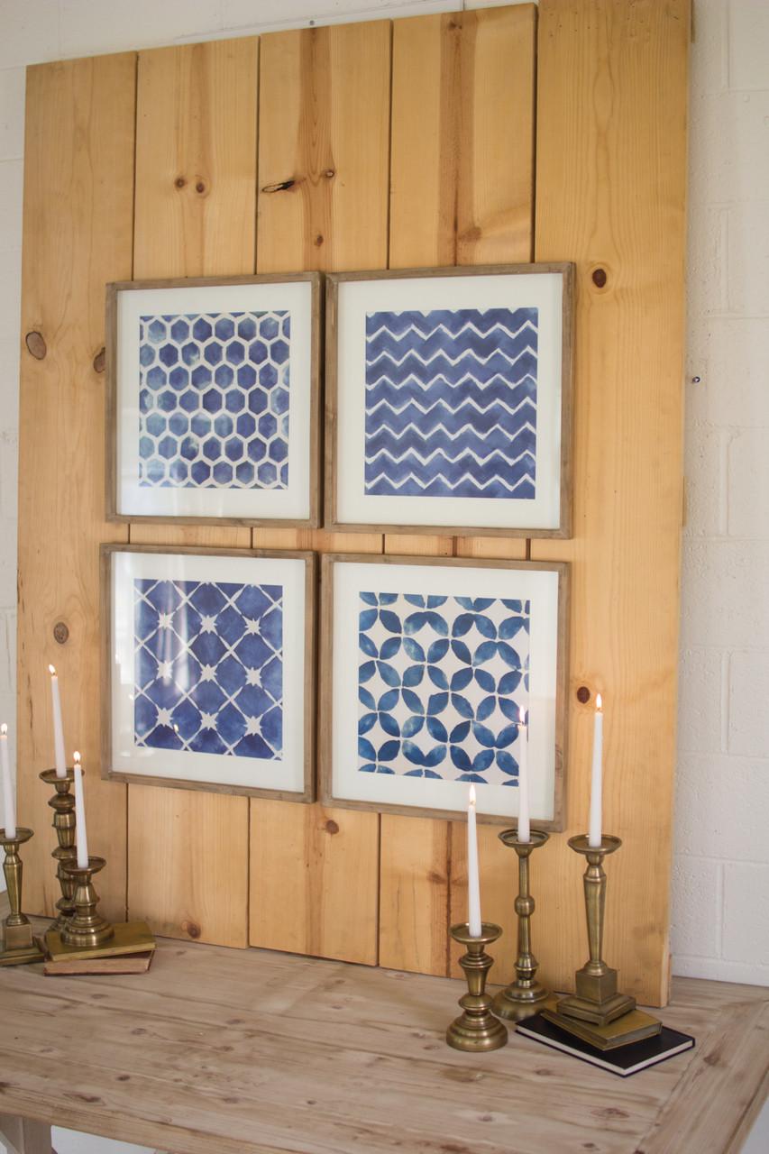 Coastal Blue Block Geometric Prints under Glass - Set of 4