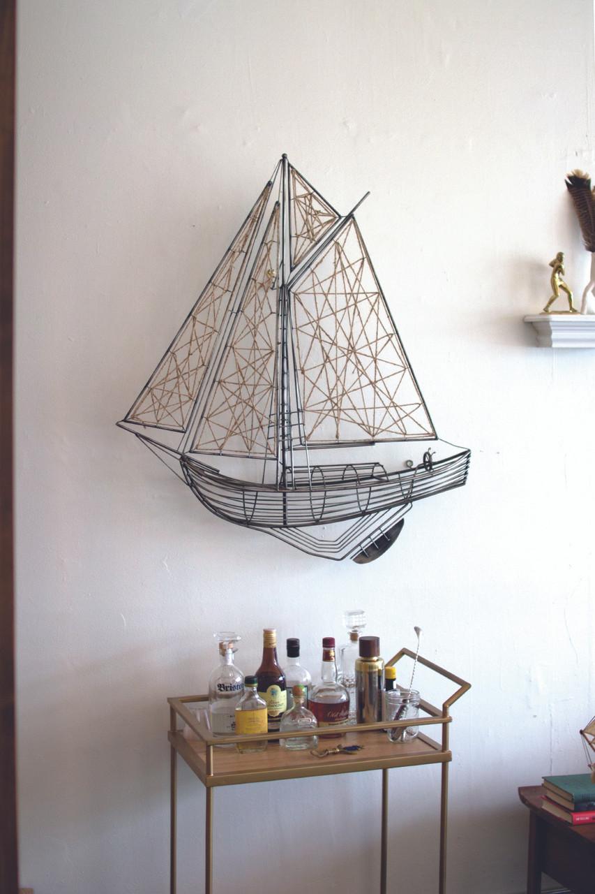 Woven Metal and Jute Sailboat Wall Hanging