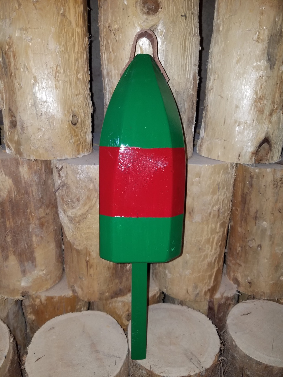 """Wooden Lobster Buoy - 21"""" - Green with Red Band - Personalized"""