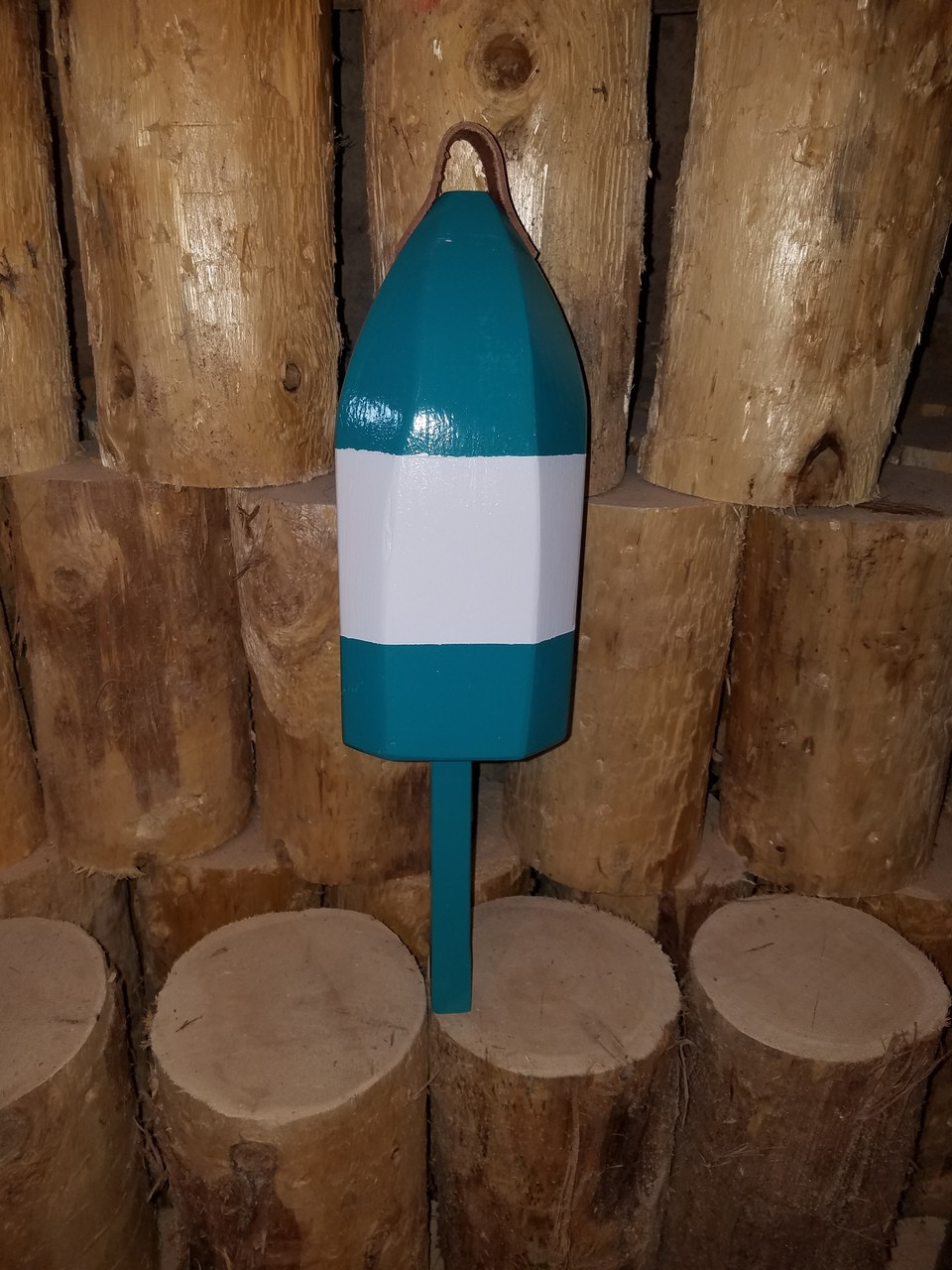 """Wooden Lobster Buoy - 21"""" - Teal with White Band"""