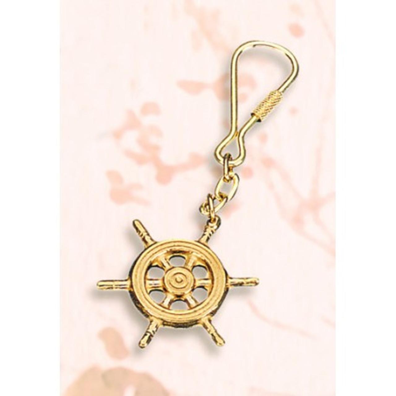 Brass Key Chain - Ship Wheel #3