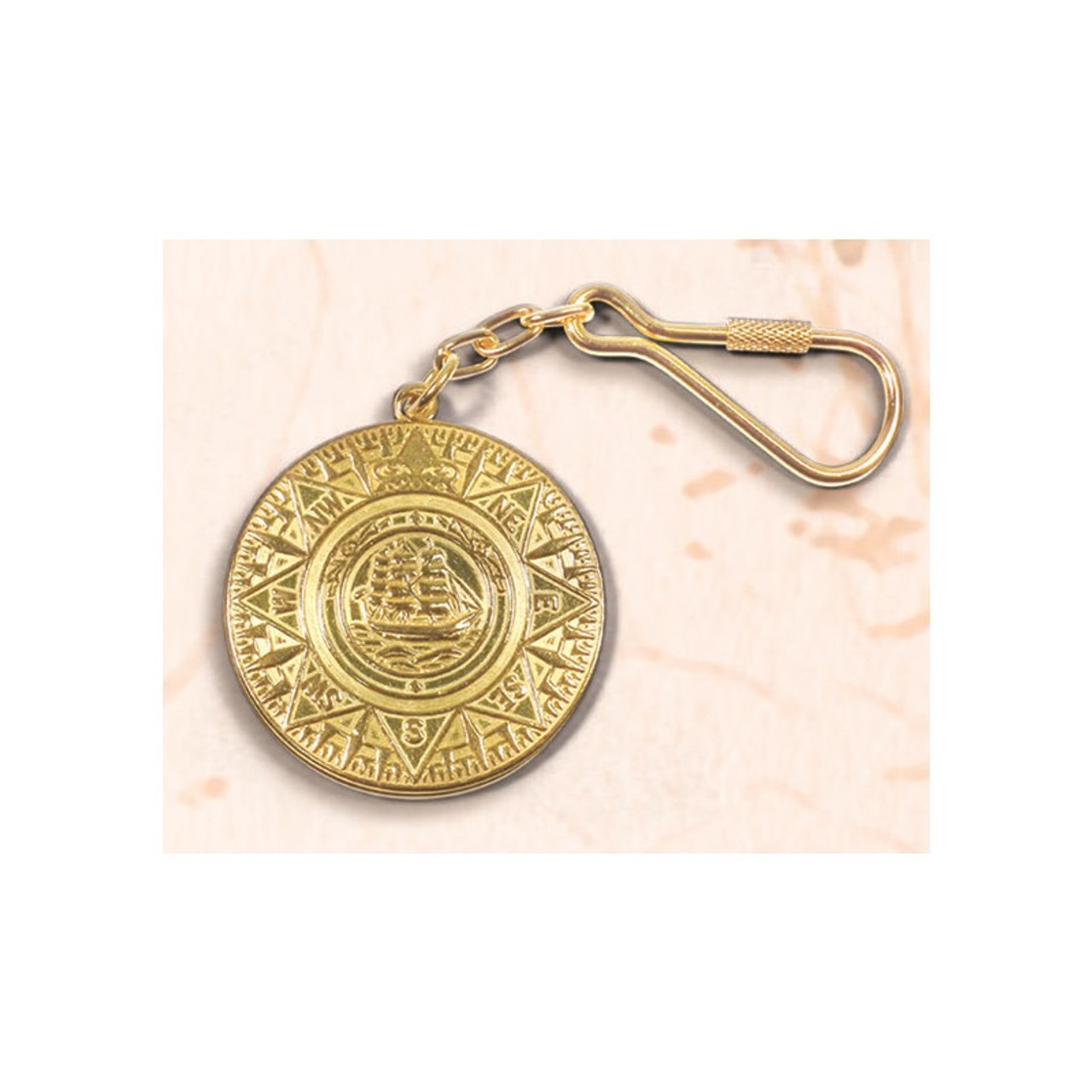 Brass Key Chain - Ship's Compass Medallion