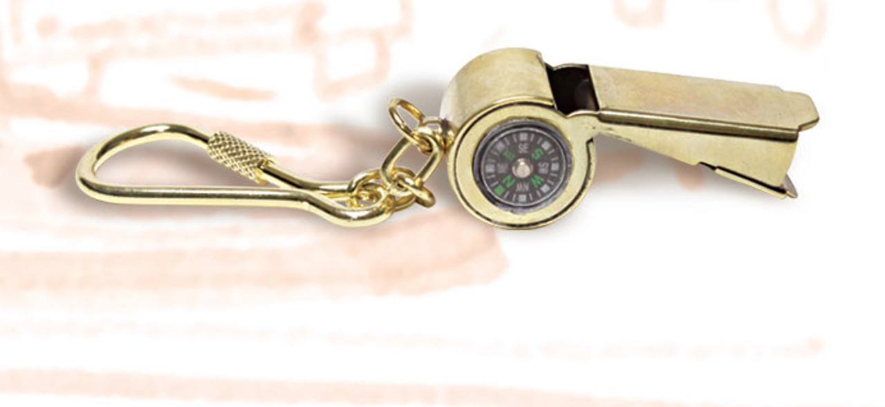 Brass Key Chain - Whistle with Compass