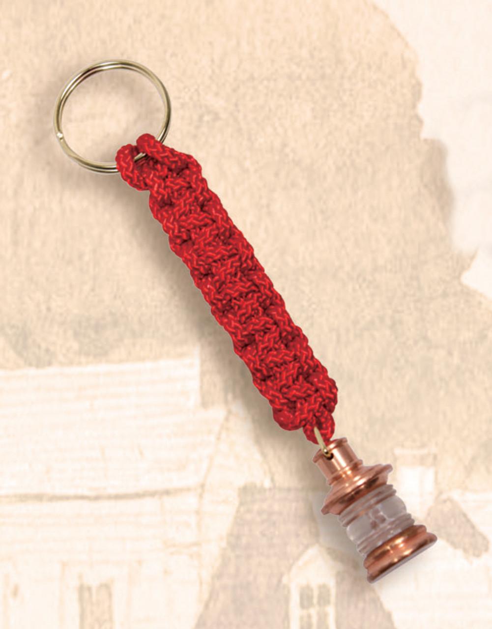 Brass Key Chain - Lantern with Red Lanyard