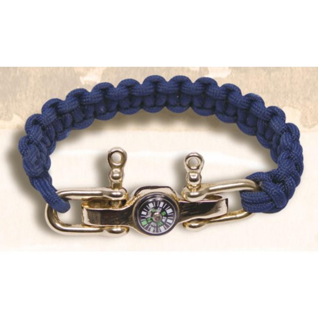 Navy Lanyard Bracelet with Brass Compass