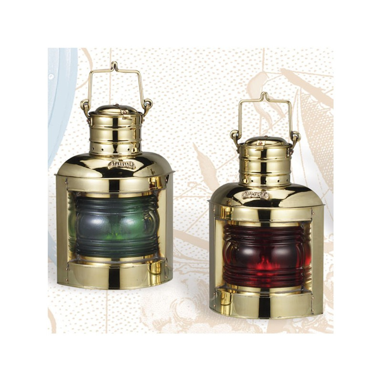 "(BL-835 Oil)  Set of 2 Deluxe 12.5"" Port and Starboard Oil Burning Lanterns"