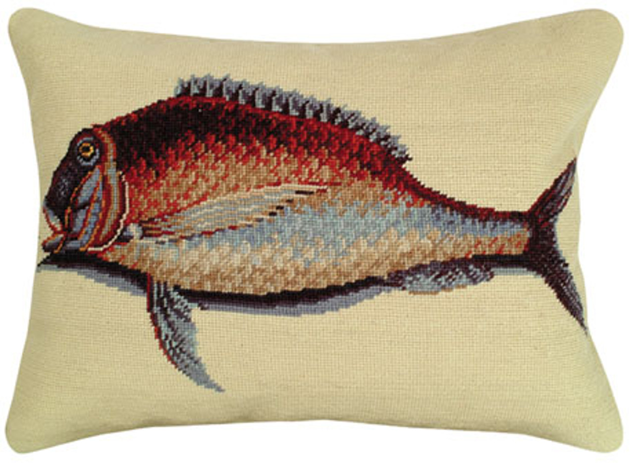 Porgy Fish Needlepoint Pillow