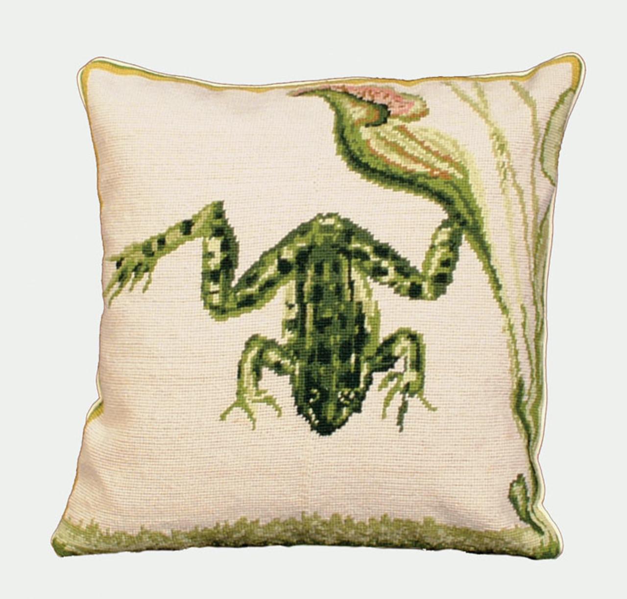 Bull Frog Needlepoint Pillow
