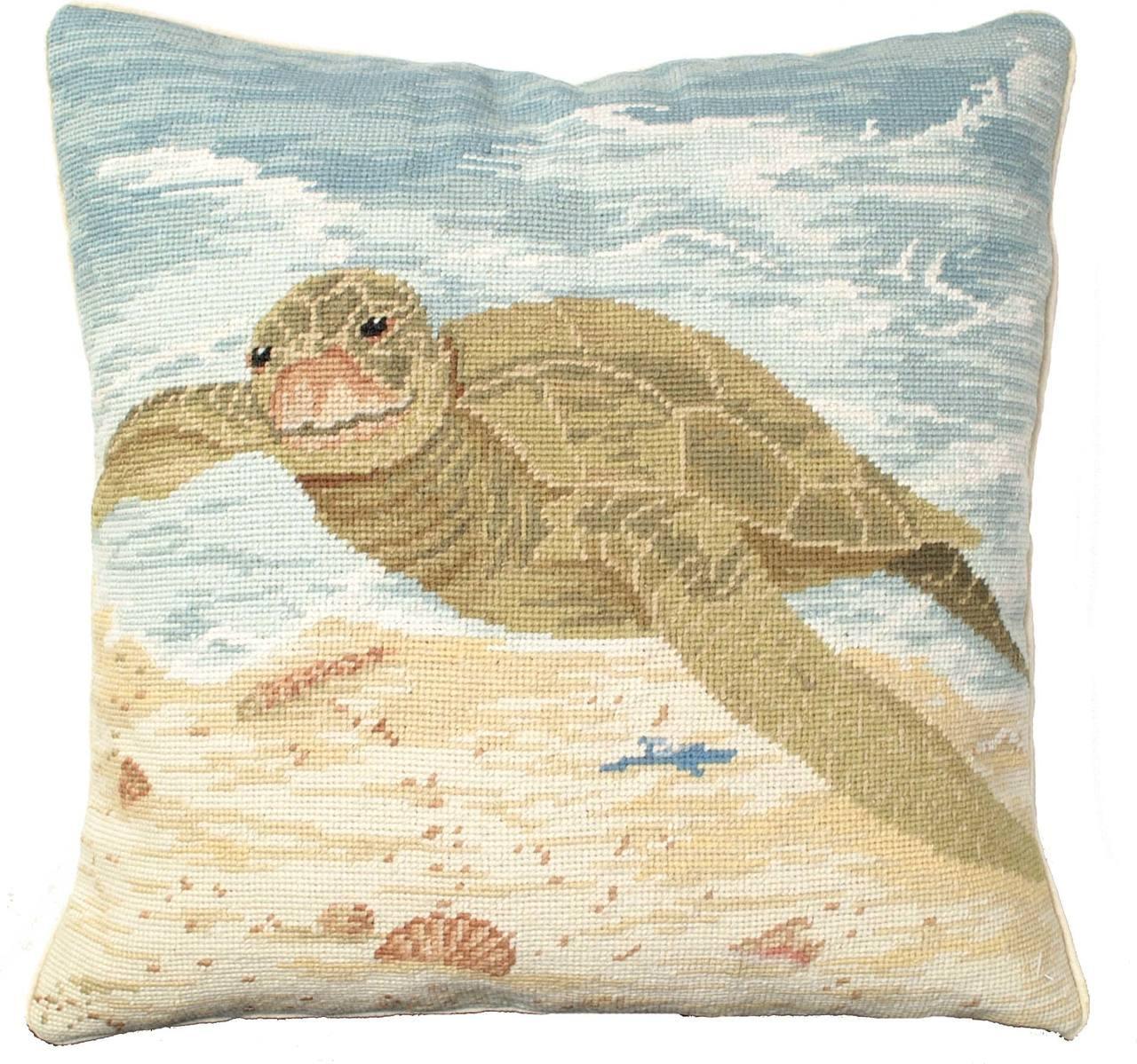 Blue Crab Needlepoint Pillow
