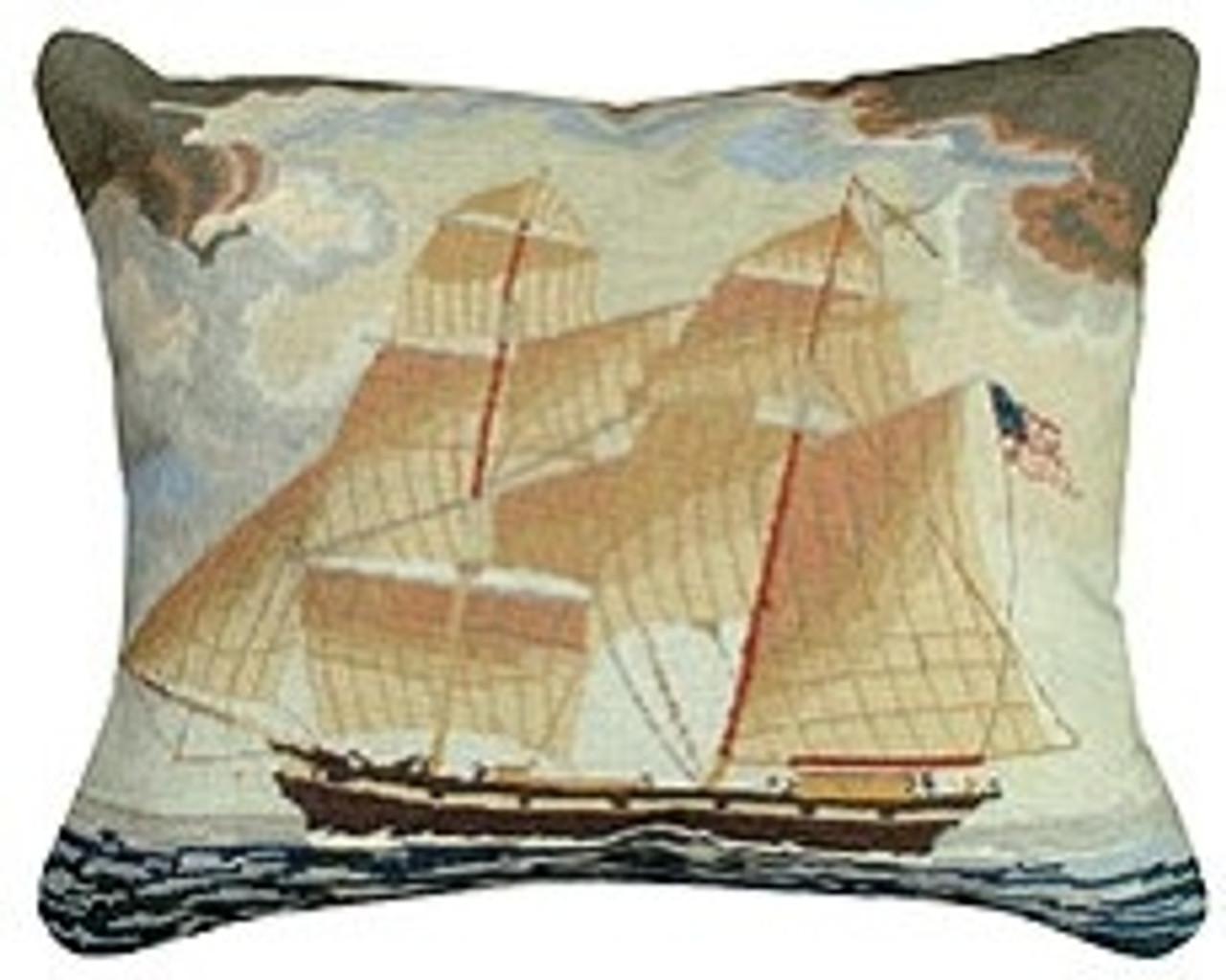 Striped Sailboat Needlepoint Pillow