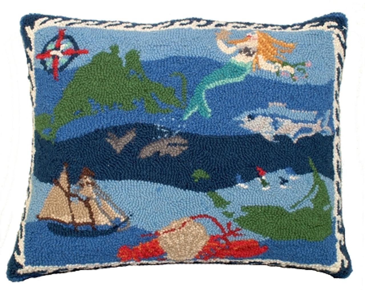 Coastal Quilt Hooked Wool Rug